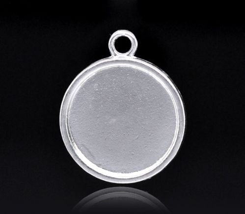 10 Silver Plated Round Cameo Frame Settings Pendants 28x24mm(Fit 20mm)
